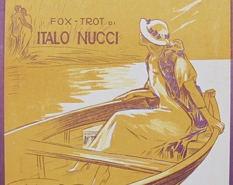 1925 Italian Vintage Music Sheet, Nostalgia D'Amore (Memories of Love), Fox Trot by Italo Nucci, Original Vintage Music Poster from 1920s