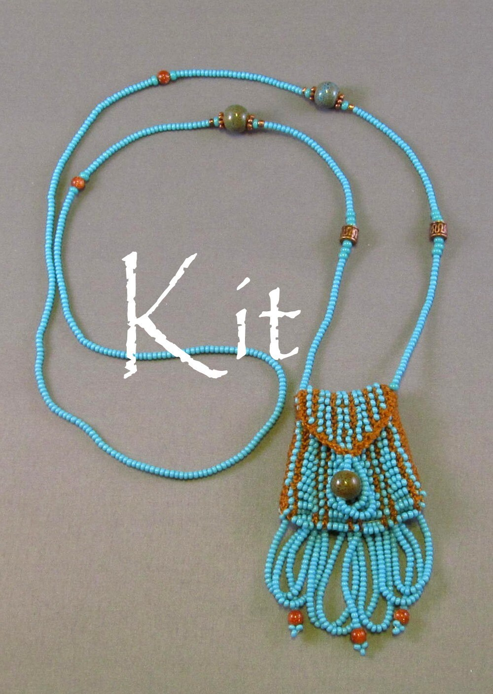 Knitting Jewelry Kits : Brigitte kit a beaded knit necklace purse turquoise