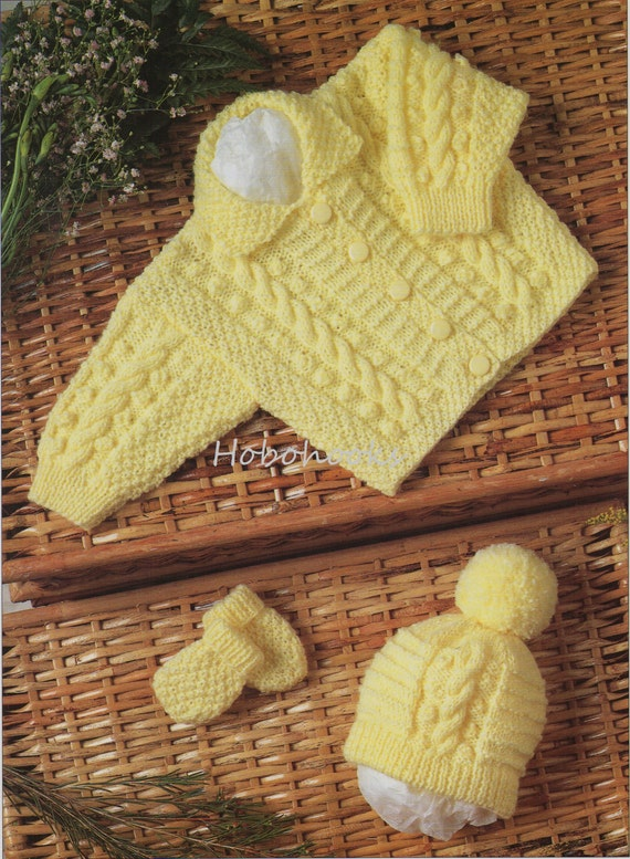 Baby aran jacket hat mitts Knitting Pattern pdf baby cable