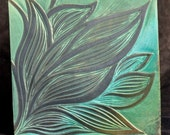 "Hand carved, sgraffito style 6"" ceramic tile in Turquoise and Jade"