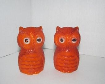 Vintage Plastic Orange Owl Salt and Pepper Shakers