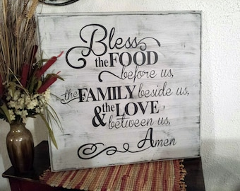 Bless the food before us, wood sign, hand painted. - Beautiful kitchen & dining room wall art.