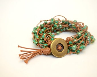 Green Odyssey Bracelet, Green 2 layer wrap bracelet, Beaded wrap bracelet