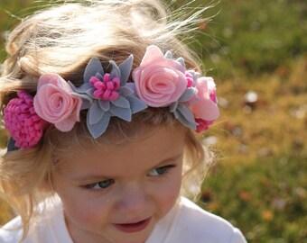 choose your colors: felt flower crown, floral crown, flower girl flower crown, floral wreath, baby flower crown,