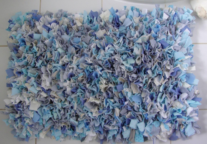 Blue Mix Rag Rug Handmade Shabby Chic Rug Blue White Cream