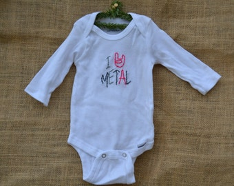 I Heart Metal Hand Embroidered Onesie