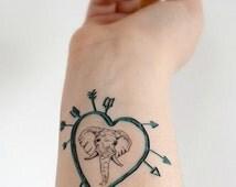 Temporary Tattoo Elephant - Heart, Teal, Arrow, Elephant, Wild