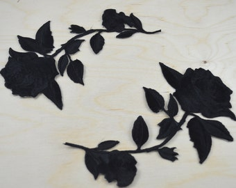 2 Black Embroidery Rose Patches/ Black Flower Applique with Iron-on Backing. Option for Mirrored Shape. Please Leave Note on Purchase
