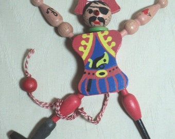 PIRATES, Pirate Puppet, Hand Made, Hand Painted Detail, Folk Art, Adult Toy, Figurine, Made in Austria, Mobile