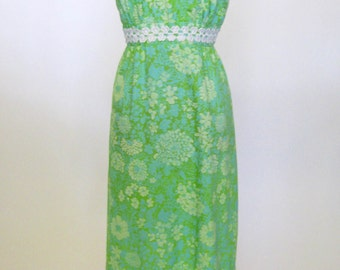 Lilly Pulitzer 1960s Beach Chic Vintage Floral Dress with Adjustable Straps, Darling