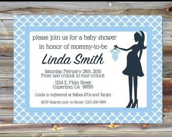 Bodysuit Themed Personalized Blue Boy Baby Shower Invitation - Baby Shower Silhouette Invitation - Elegant Baby Shower Invitation