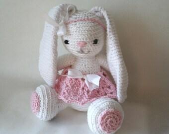 "Bunny Toy ""Angelina"" , White Bunny ,Crochet Pattern"
