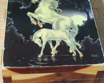 Signed Ferraro Vintage Retro 80s UNICORN Wooden BOX Trinket Jewelry Storage Container