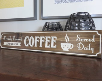 "6""x30"" Walnut Stained Vintage-Inspired Coffee Sign"