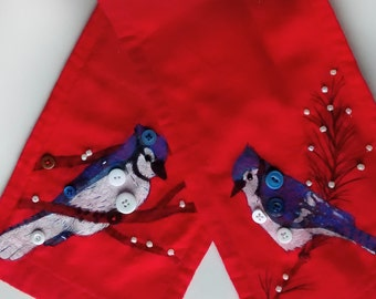 Jay Bird - Unique scarf decorated by hand. We use specialized pens, buttons, pearls and hand-embroidery.