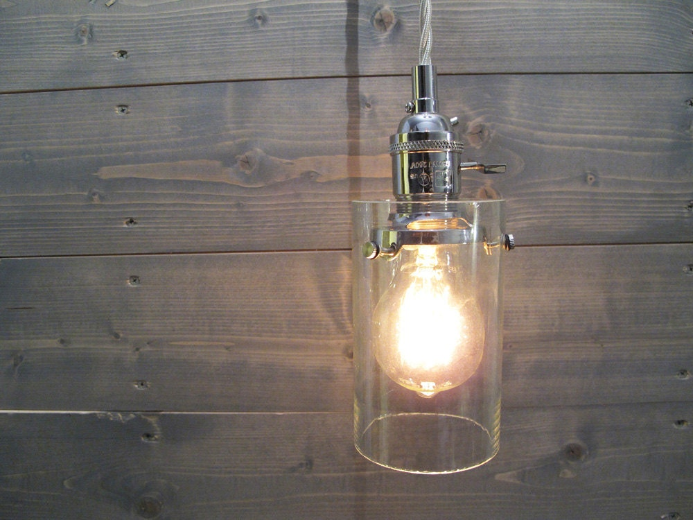 Recycled Wine Bottle Pendant Light Large Clear Cylinder