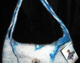 wet felted blue bag