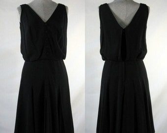 Vintage 1940s black rayon swing dress size small 'Calbette' label