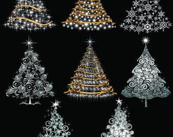 Christmas Tree Digital Clipart Xmas Tree Clip Art Printable Graphics Scrapbooking Invitations Commercial Use INSTANT DOWNLOAD 300 dpi