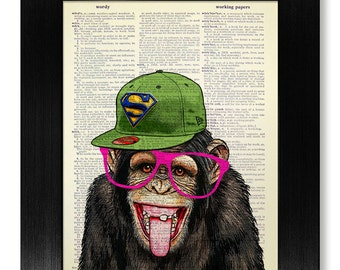 Geekery MONKEY Geek Gift for Man, Nerd Gift for BOYFRIEND, Geeky GIFT for Husband, Nerdy Gift for Him, Wall Art Print Geek Poster Decoration