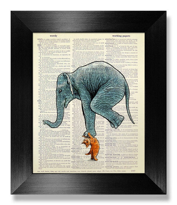 Poster Weights Etsy: CAT Weight Lifting Elephant DICTIONARY Art Print On