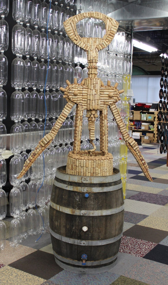 Items Similar To Upcycled Wine Cork Opener Sculpture Eco