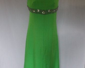 Vintage evening maxi dress 60s by Blanes Made in England Green sequined beaded evening dress size Medium