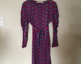 Vintage Saks Fifth Avenue Silk Print Dress