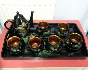 Vintage oriental lacquered papier maché tea-set and tray