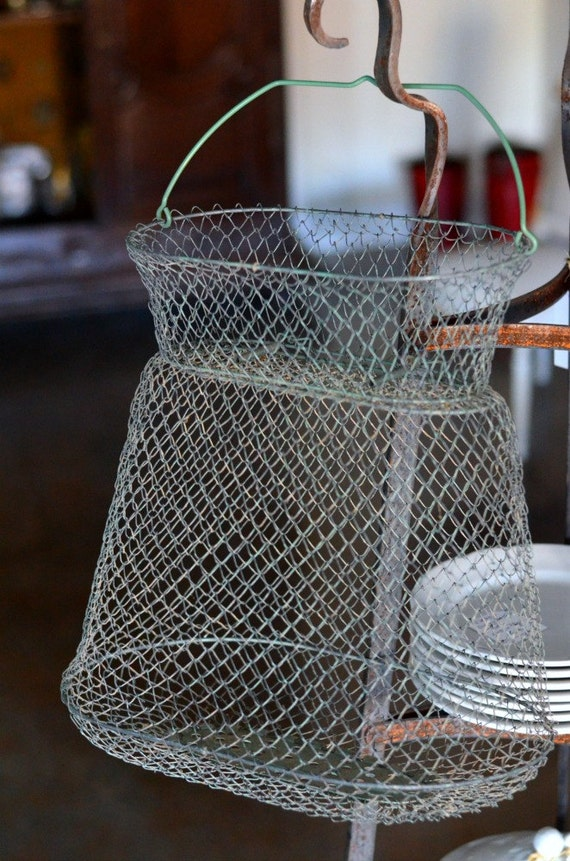 Vintage french wire fish basket by studiobrocante on etsy for Fish wire basket