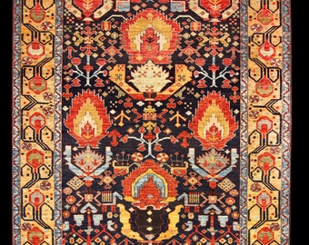FREE SHIPPING - Antique Kurdish Design Handmade Rug