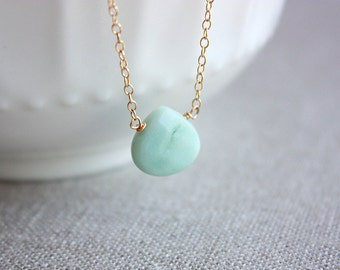 Gold Amazonite Necklace, Amazonite Jewelry, Gemstone Necklace, Gemstone Jewelry, Amazonite Pendant, Dainty Necklace, Gift for Her