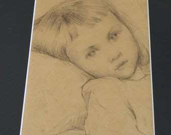 A charming drawing Penciller representing the portrait of a young girl | Arts France vintage 1920