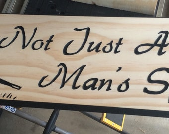 Not Just A Man's Sport Sign w/Women Graphic