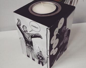 Comic Decoupage Candle Holder- Comic Decoupage Tea Light Holder- Comics- Geek Gift