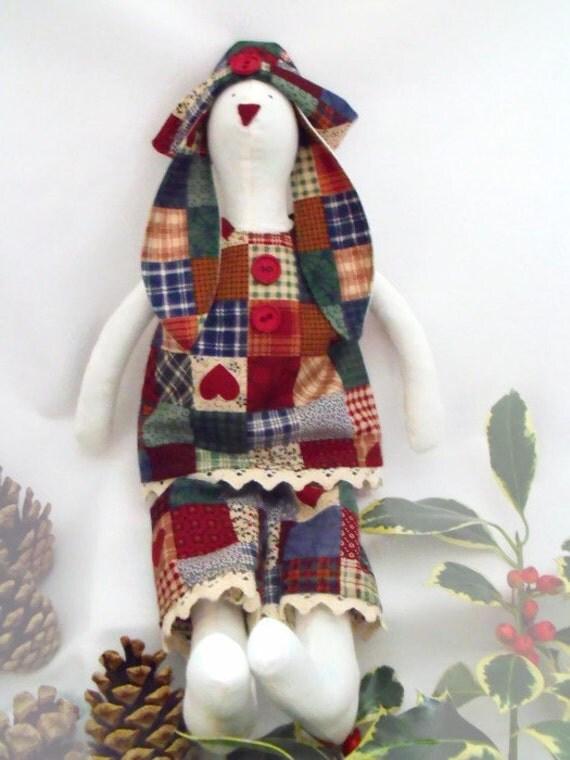 """primitive style Tilda bunny,  rabbit doll, plush rag doll, collectable doll, home or nursery decor 14"""" tall"""