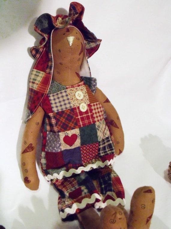 "rabbit doll, plush rag doll, primitive tilda bunny, collectable bunny doll, nursery decor, easter gift, 14"" tall"