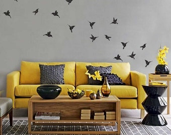 Origami Hummingbird Wall Decal Kit - Flying Birds Wall Decal Kit by Chromantics