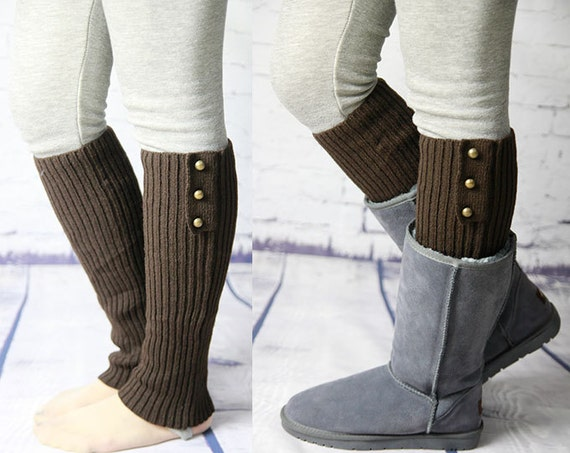Knitting Pattern For Leg Warmers With Buttons : Womens Knit Pattern Leg Warmers Brown Button Leg by GXJSocks