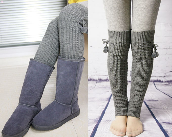 Knit Leg Warmer Pattern : Womens Knit Pattern Leg Warmers With Pom Pom Tie Gray by GXJSocks