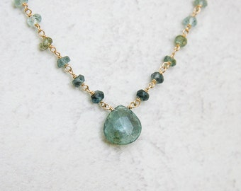 Moss aquamarine pendant necklace | March Birthstone | Aqua pendant necklace | Aquamarine