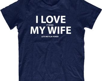 Poker T shirt Funny Present for him Texas hold em  screenprint comedy Shirt for husband cards T-Shirt