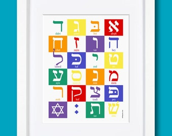 "Hebrew Alphabet - Rainbow - 8x10"" Print"