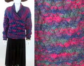 70s hand made space dyed fully fashioned 3D wool sweater