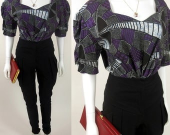 80s African robe wax printed avant garde cotton top