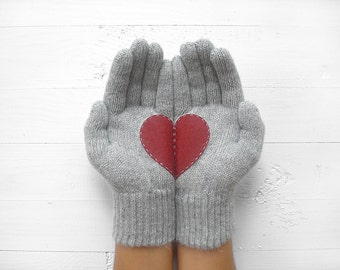 MOTHER'S DAY GIFT, Heart Gloves, Grey Gloves, Burgundy, Cherry, Special Gift, Gift For Her, Mom Gift, Mother Gift Idea, Women Gift, Fun