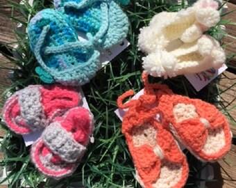 Newborn hand crocheted sandals