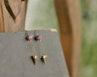 Dangling Rough Ruby Spike Earrings, Tribal Earrings, Boho Earrings, Festival Earrings, Spike Earrings, Ruby Earrings, Statement, Bohemian,