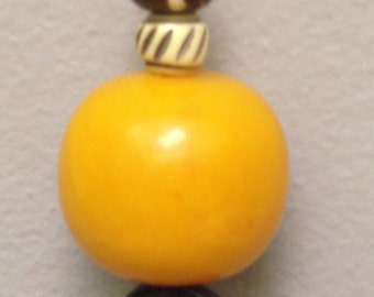 African Amber Pendant Cord Necklace