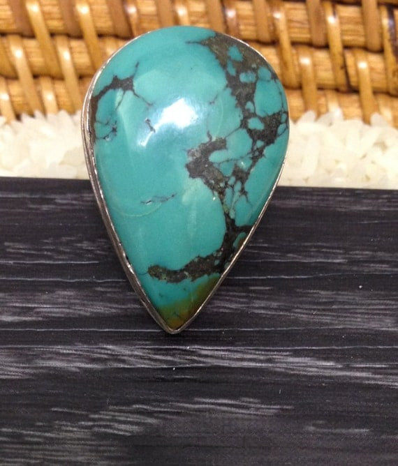 Ring Sterling Silver Turquoise Chinese Ring Handmade China Turquoise Blue Stone Unique Statement